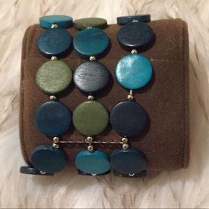 Modern Teal wood bracelet